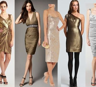 short metallic dresses