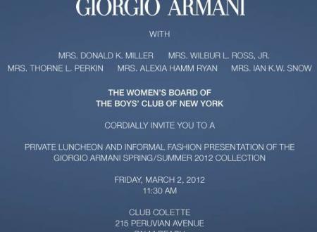 Boys' Club of New York Giorgio Armani Luncheon