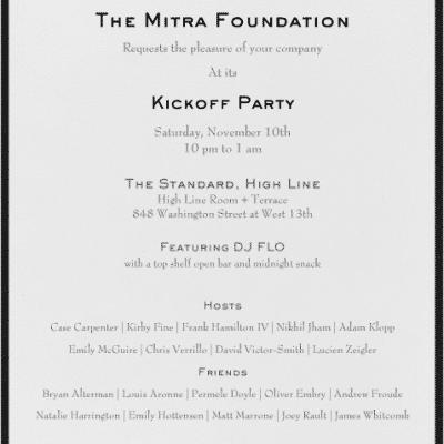 The Mitra Foundation Kickoff Party