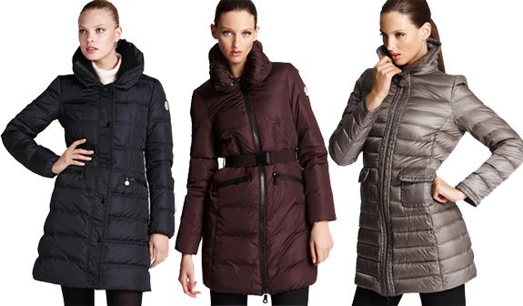 SHOP NOW: Moncler Vos Three-Quarter Length Coat ($1290), Moncler Belted Down Coat ($1295), Moncler Mid Length Down Coat ($1245)