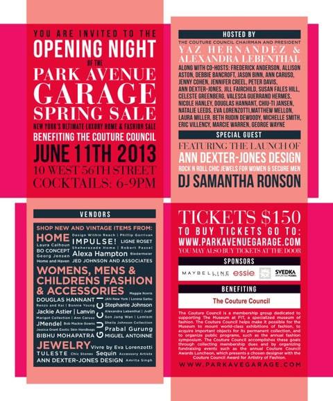 Pop Up Sale Park Avenue Garage