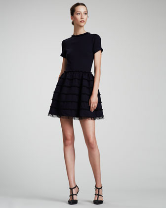 RED Valentino Lace-Trim Full-Skirt Dress