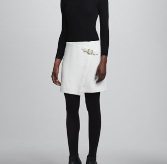 Paule Ka Long-Sleeve Buckle-Skirt Dress