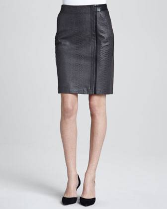 Vince Leather Snake Pencil Skirt