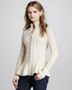 Autumn Cashmere Cable-Knit Peplum Cashmere Jacket