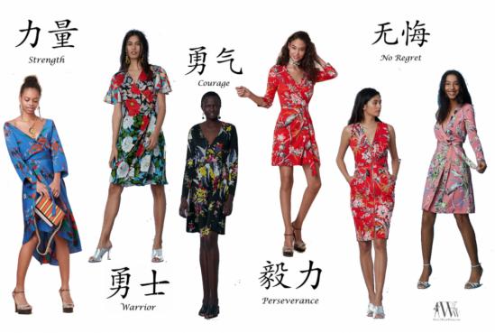 d57e148bf1a dresses from left to right: Diane Von Furstenberg Cybil Silk Jersey Banded  Wrap $498 / Zip Front Sheath $398 / Julian Silk Jersey Mini Wrap $398 ...