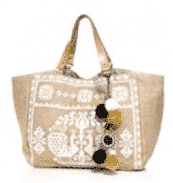 Star Mela Palm Embroidered Tote  $155
