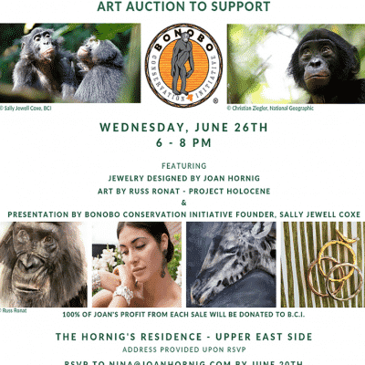 Joan Hornig Jewelry to Support Bonobo Conservation Initiative, Sally Jewell Coxe
