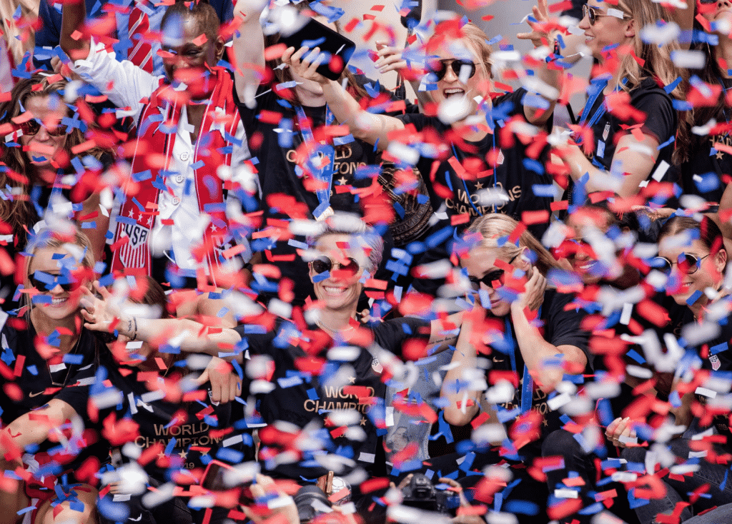 US Womens Soccer Team celebrate in New York City with a ticker tape parade.