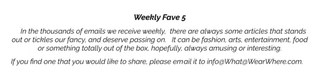 Weekly Fave Five, article that caught our eye this week.