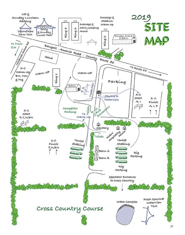 Site Map.  Millbrook Horse Trials Event, Millbrook New York